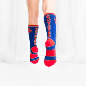 blue and red crew socks
