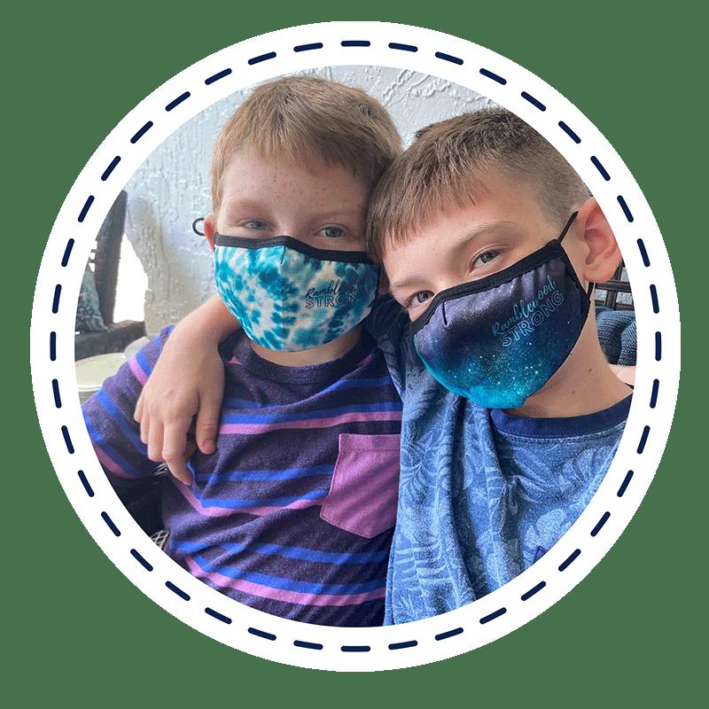 kids wearing custom masks by Spirit Sox