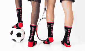 students wearing custom socks by spirit sox usa that have their school mascot on them