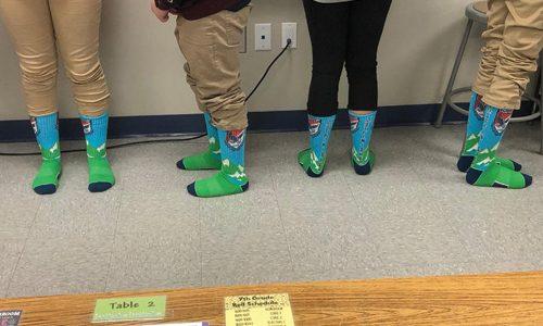 Lincoln Charter School sporting their Spirit Sox USA custom socks